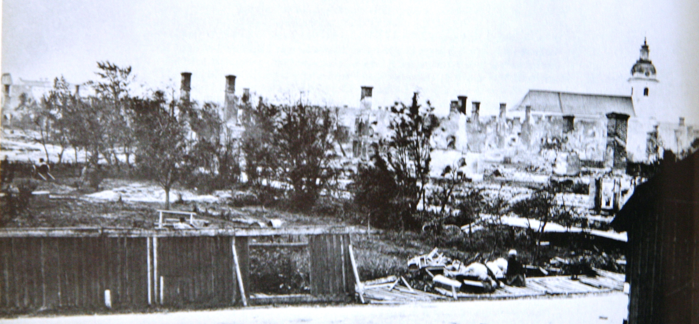 Apotekare Luths trädgård vid nuvarande Vasaskolan efter eldsvådan