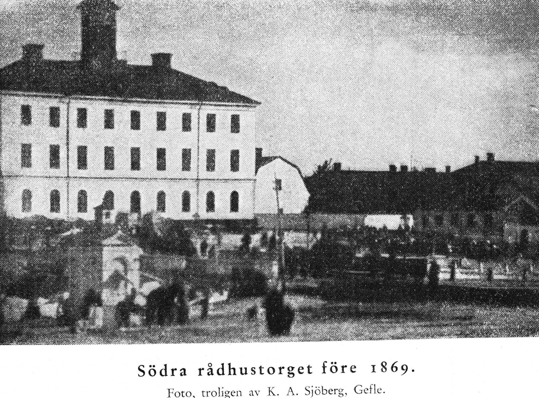 Södra sidan av rådhuset före branden 1869