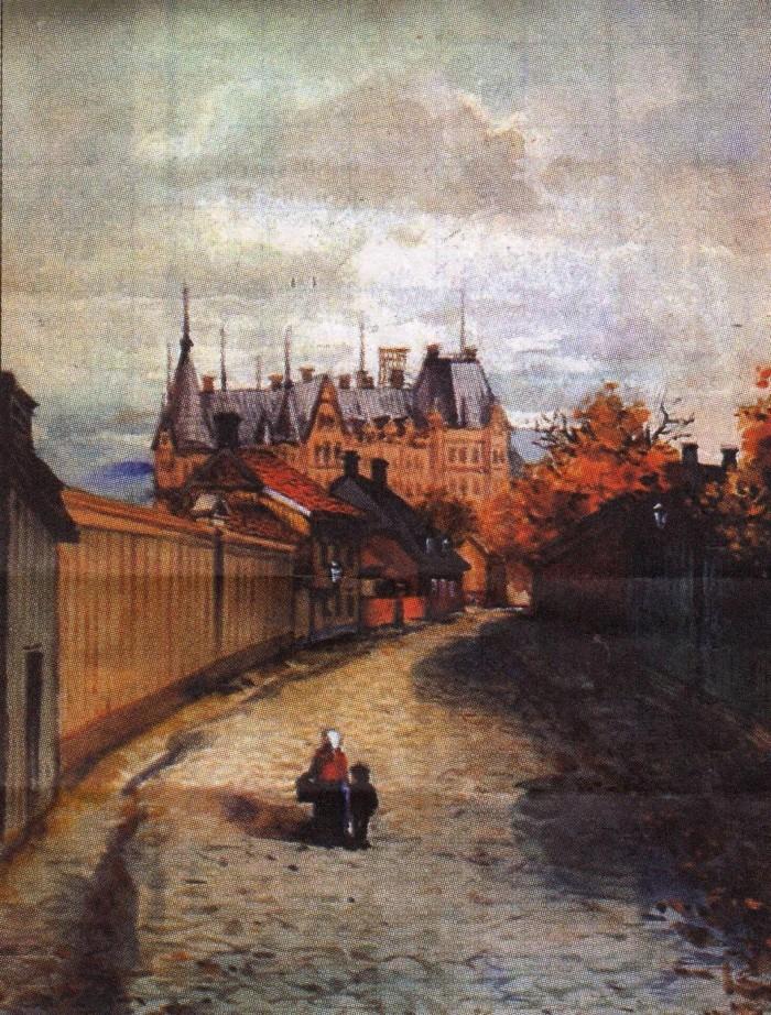 Västra Islandsgatan i Gefle 1901. Akvarell av Johnny Millar.