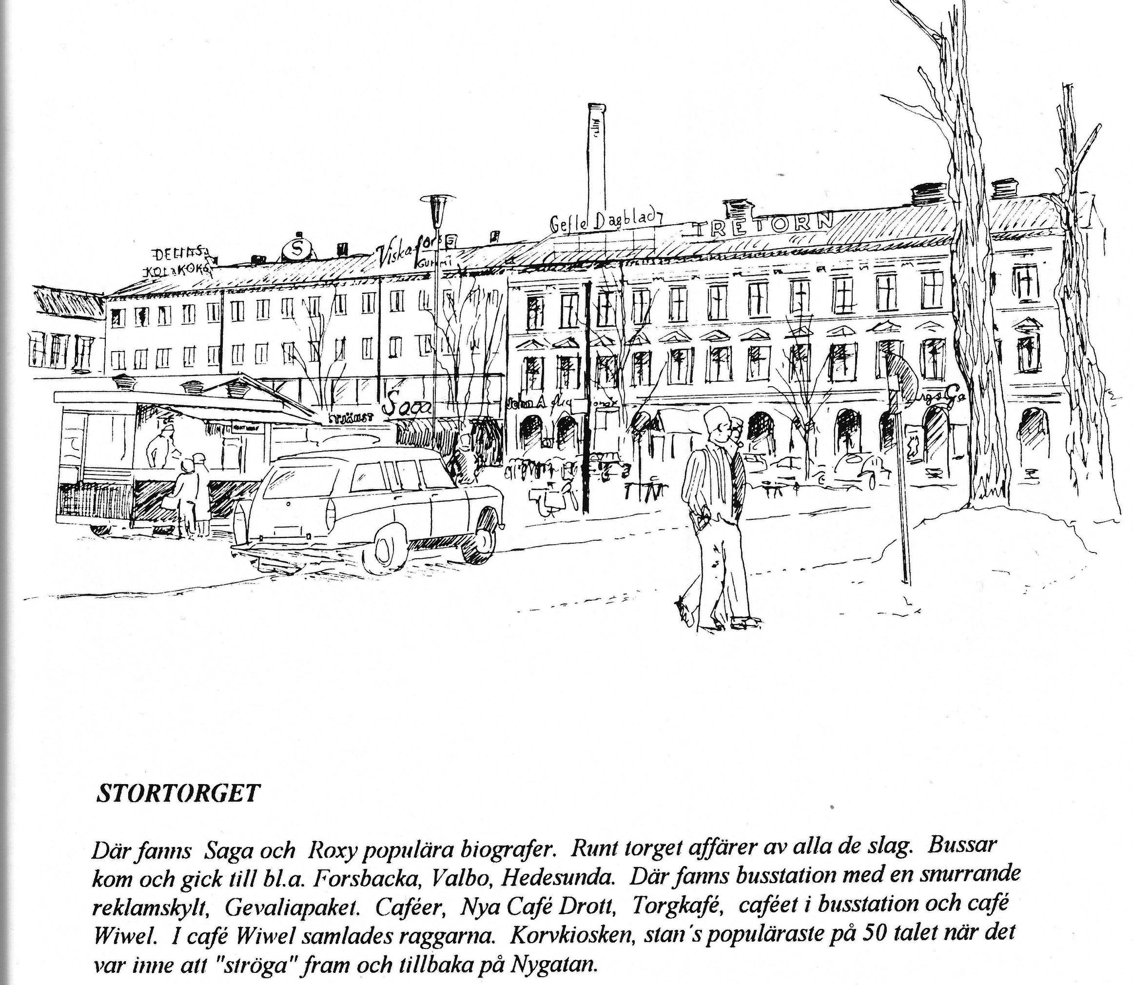 Stortorget på 40-50-talet. Teckning av KE Johannesson.