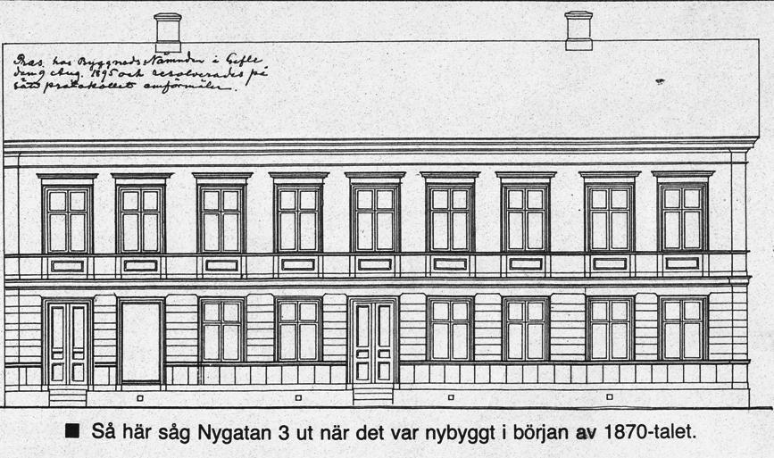 Ritning på Nygatan 3 när det byggdes i början av 1870-talet