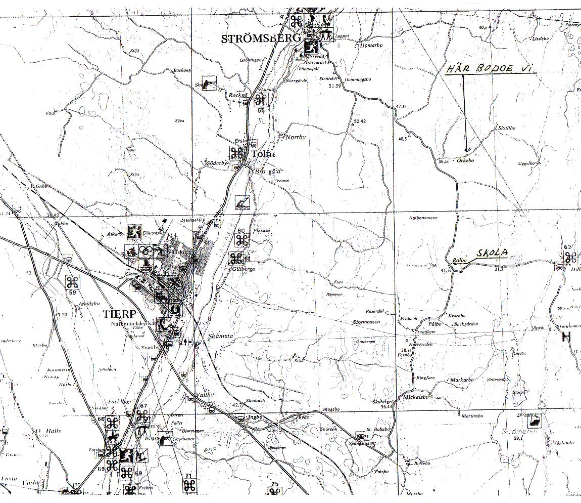 Karta Strömsberg, Tierp, skola och bostad