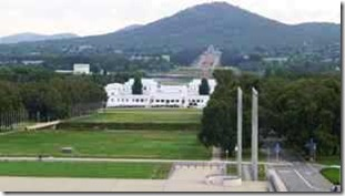 Canberra. The old Parliament viewed from the new one