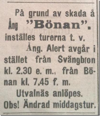 Alert ersatte Bonan ett tag pa sommaren 1919