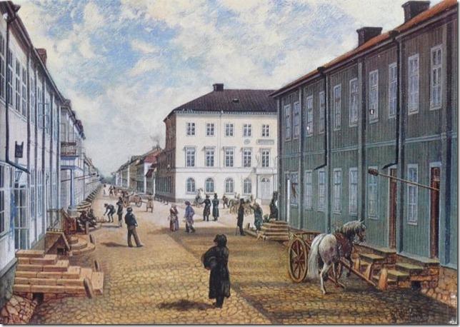 Drottninggatan_mot_oster_ca_1830_Tollins_litogram