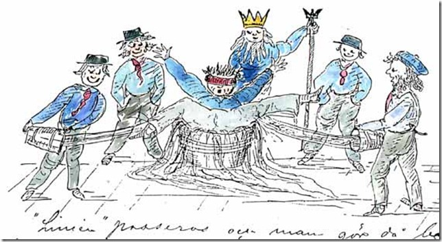 Linjen passeras teckning av Per Wilhelm Bergelin pa skeppet Japan