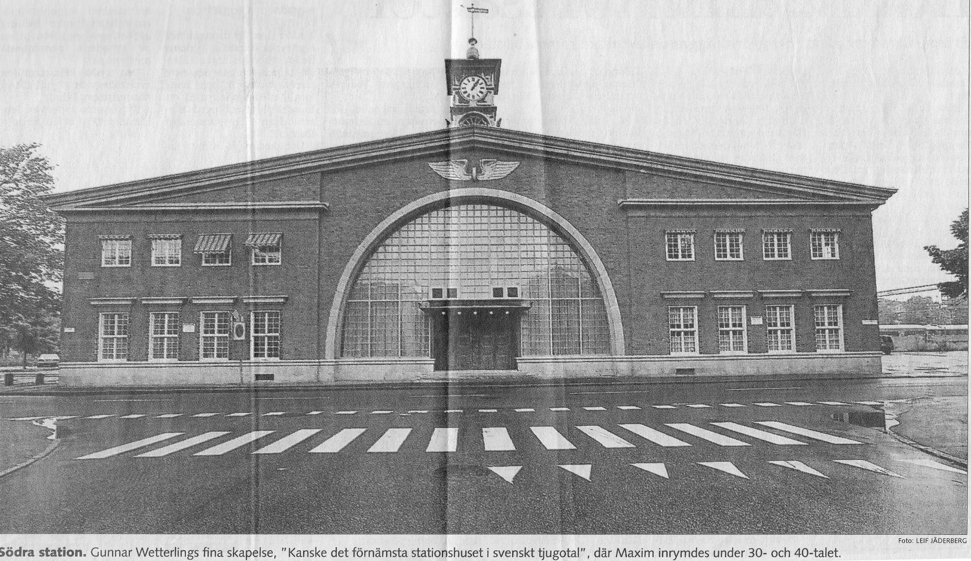 Södra stationen som senare blev Maxim