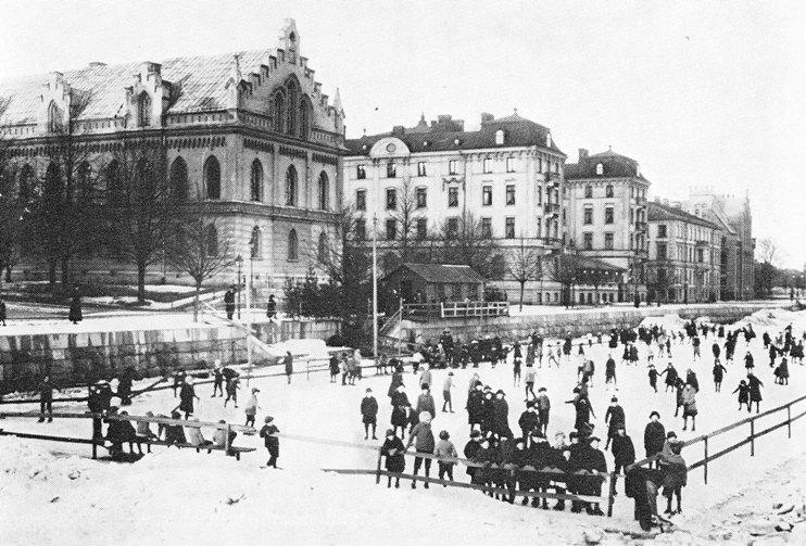 Skridskobana på Gavleån under 1920-talet